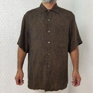 Brioni brown short sleeve button-up shirt